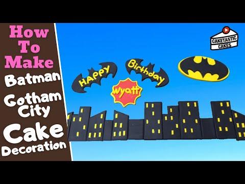 How to make BATMAN & GOTHAM CITY SKYLINE from DC COMICS Cake Decoration Topper by Caketastic Cakes