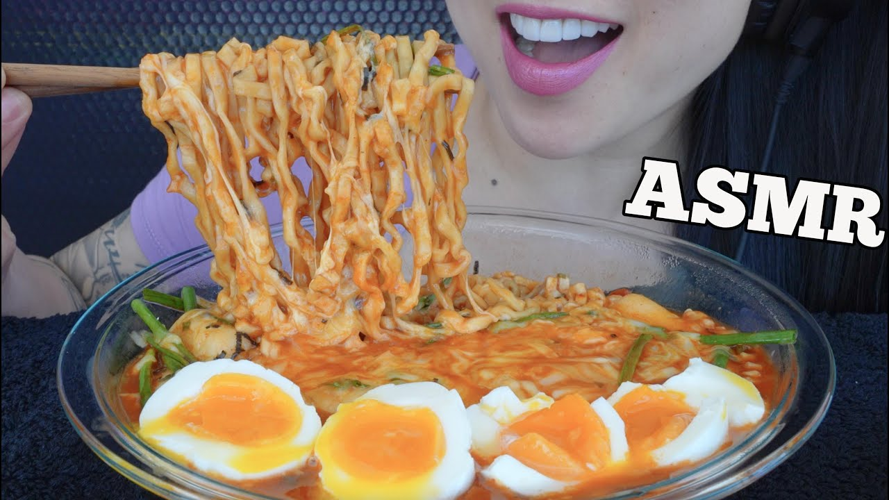 ASMR CHEESY RICE CAKE SPICY NOODLES + SOFT BOIL EGGS (EATING SOUNDS) NO TALKING   SAS-ASMR