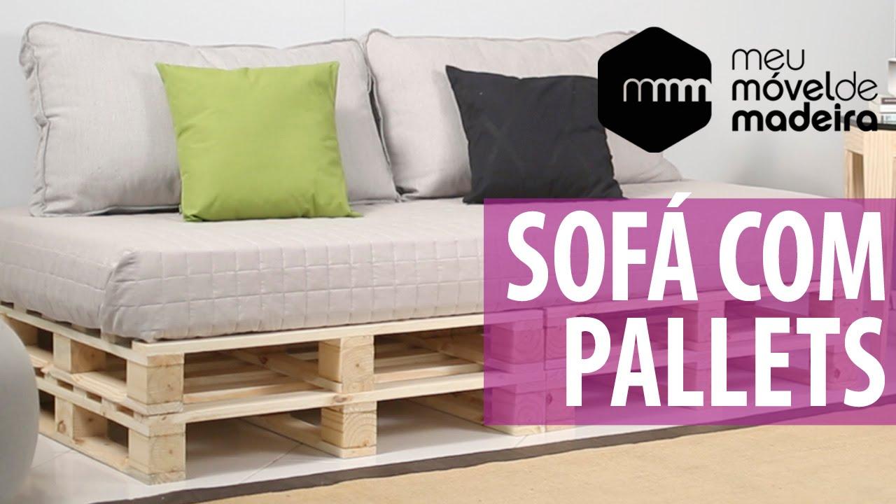 Diy como fazer um sof de pallet youtube for Sofa cama armario