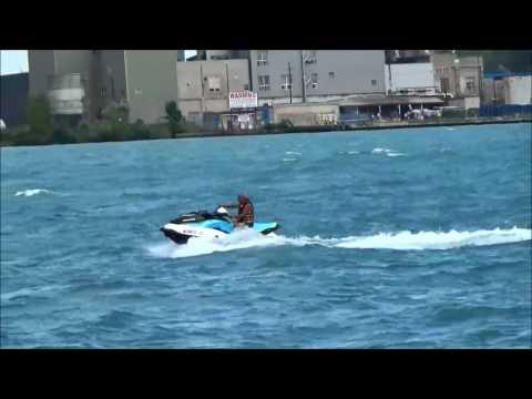 Randy riding GTI 130 Jet Ski on the Detroit River.