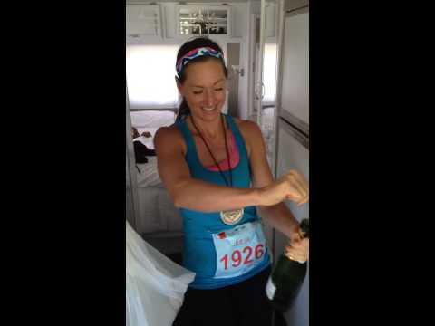 Popping bottles ! Celebrating my Big Sur Marathon finish!