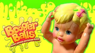 Booger Balls at Little Mommy Baby Doll - DIY Make Slimy Gross Boogers Tossing at Bubble Guppies