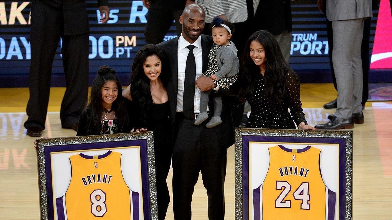 9ddab1e910a Kobe Bryant Celebrates Jersey Retirement With Family - YouTube