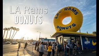 Randy's Donuts Gets Painted for the LA Rams Super Bowl Appearance
