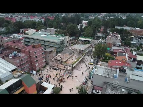 Children saved from ruins of collapsed school in aftermath of Mexico quake