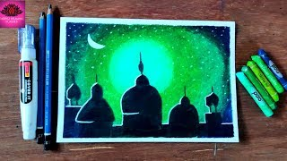 Eid-e-milad (Milad un-nabi) Special greenlight drawing with oil pastel ( very easy)