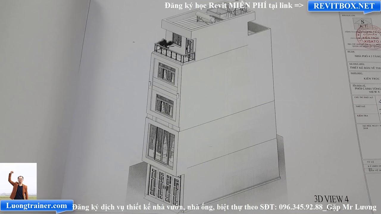 Bản Vẽ Mẫu Nhà Ống 4 Tầng Đẹp Tại Hà Nội Làm Bằng Revit 2017-2018-2019
