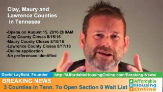 BREAKING NEWS - Multi-County, TN Section 8 Opening 8/3/16