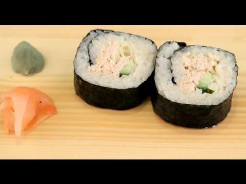 How to make sushi tuna fish rolls youtube for How to cook tuna fish