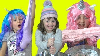 Best DIY SLIME recipe EVER! Making Unicorn Glitter Fluffy Squishy Slime Messy Family Fun Video