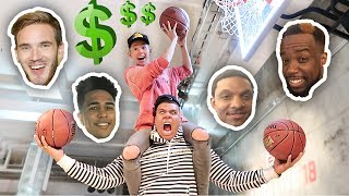 Impossible youtubers basketball trick shots challenge!! **loser pays 500**