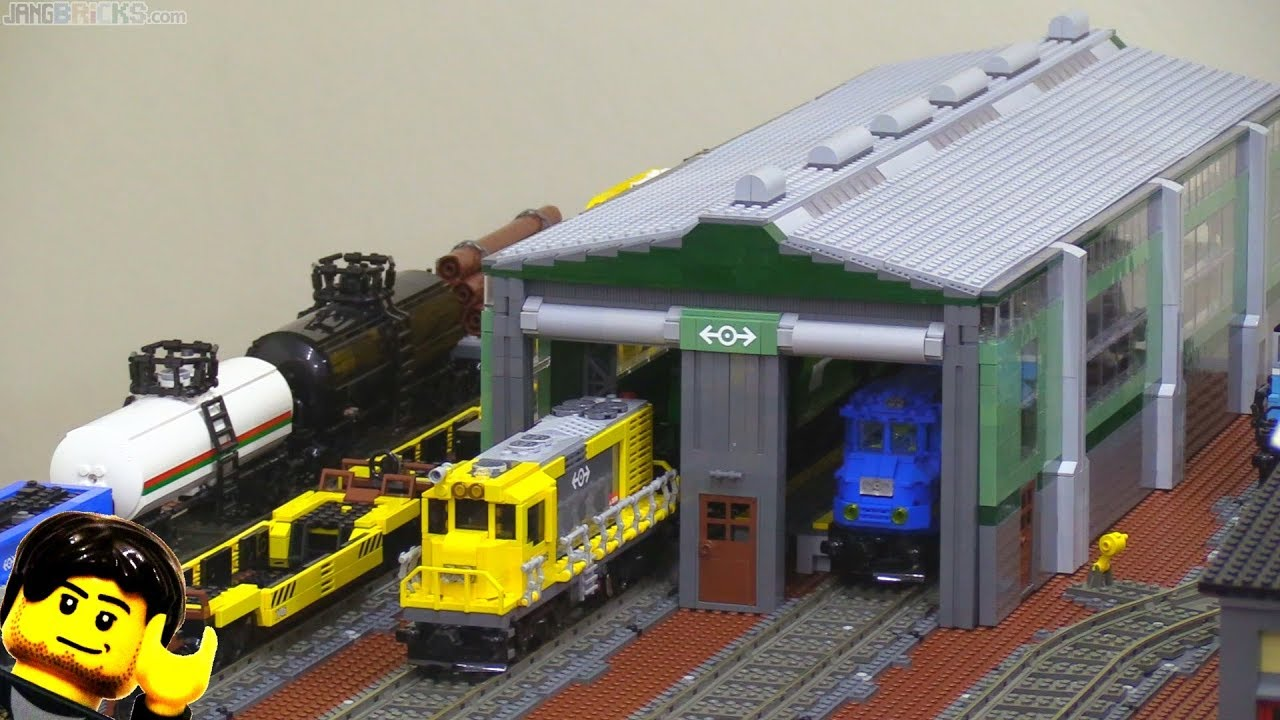 Custom Lego Train Engine Shed Shop Depot In The City Youtube