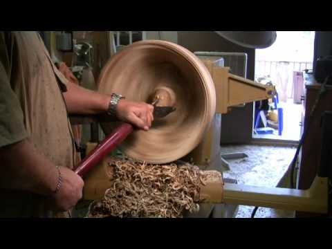 Turning a lumber dish from green lumber - YouTube
