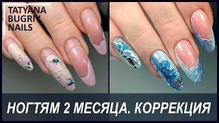 Коррекция Нарощенных Ногтей спустя 2 месяца / Зимний Дизайн Ногтей / Татьяна Бугрий
