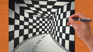 How To Draw 3d Tunnel Drawing ! Optical illusion ! Step By Step 3d Drawing ! Drawing Tunnel