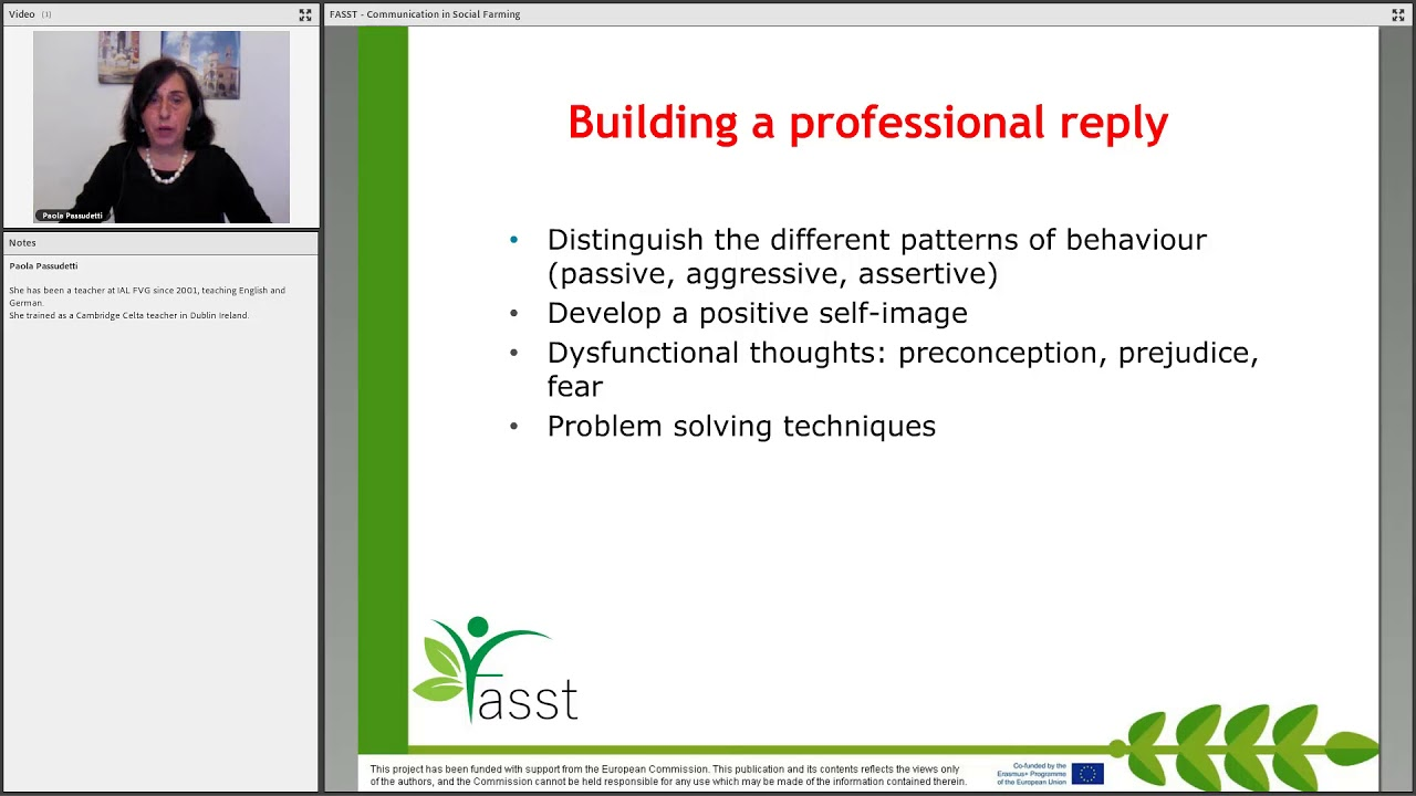 FASST Communication U4  Techniques for an assertive communication style
