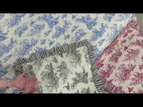 100% Cotton Reversible Toile Quilt with Shams on QVC