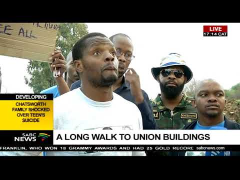 Mcebo Dlamini walking to the Union Buildings to appeal for amnesty