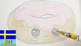 rita en st munk gullig kawaii doughnut fdelsedagskort och inbjudan