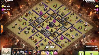 3 star clan war attack at town hall 9 open base Golem Witch Wizard Pekka (GoWiWiPe) - clash of clans
