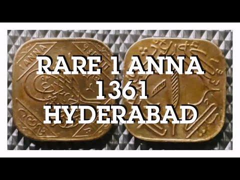 Rare 1 Anna Coin of Mir Usman Ali Khan, Hyderabad