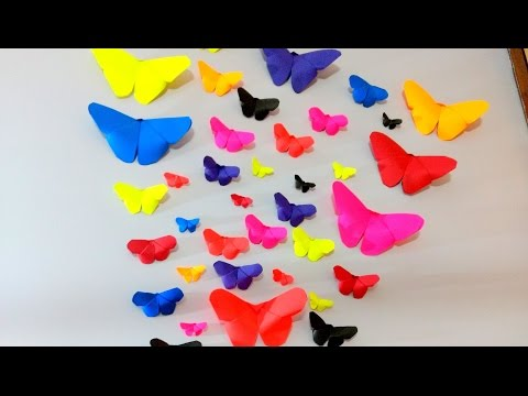 How to make paper butterflies   Wall decor (DIY crafts)