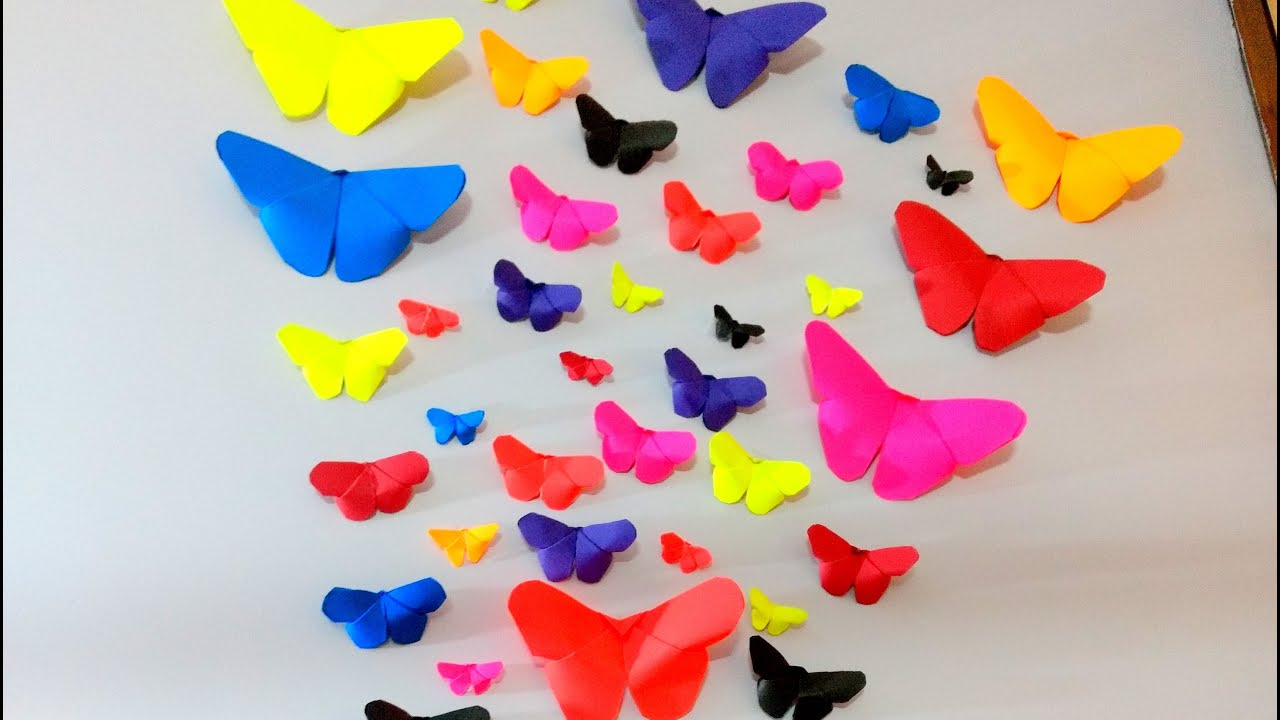 Room Decorating With Paper How To Make Paper Butterflies Wall Decor Diy Crafts Youtube