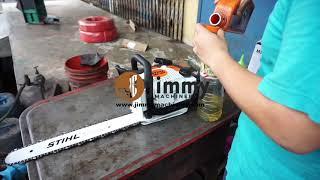 Cara Pemasangan Chainsaw Mesin Potong Pokok Stihl MS180 Dan Open Box