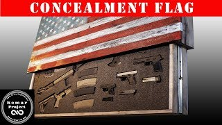 motorized concealment flag made out of pallet wood