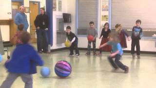 """Practice Elementary Ball Skills Then Play """"Poison Ball"""" Game 1st Grade UMS PE"""