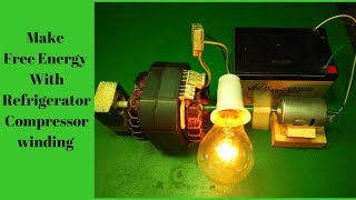 Make Free Energy With Refrigerator Compressor winding And Magnet Motor 12v battery output 220 Volt