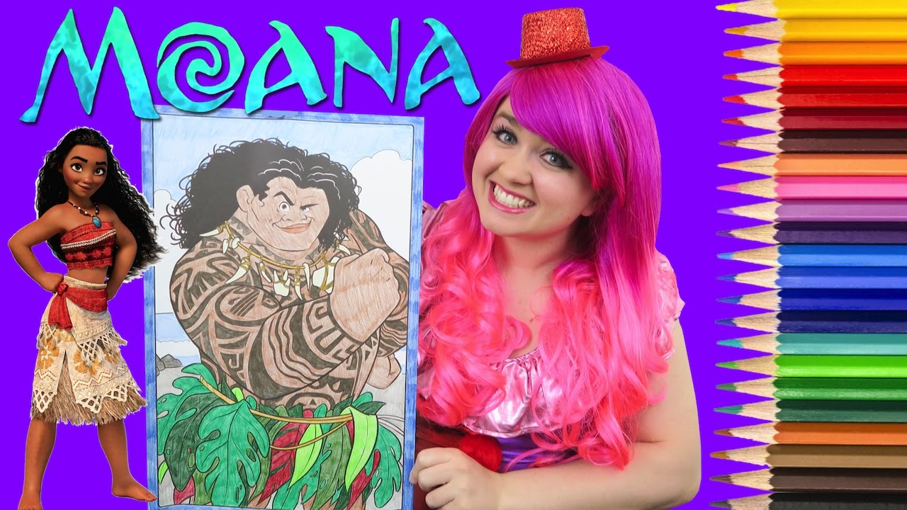 Coloring Maui Disney Moana GIANT Book Page Crayola Colored Pencil
