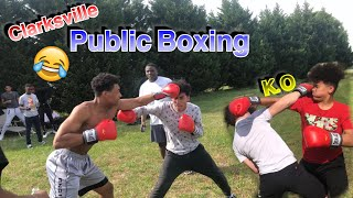 PUT ON THE GLOVES PUBLIC BOXING 😳🥊(Cops Called)