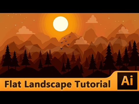 Adobe Illustrator : Flat Landscape Illustration Tutorial