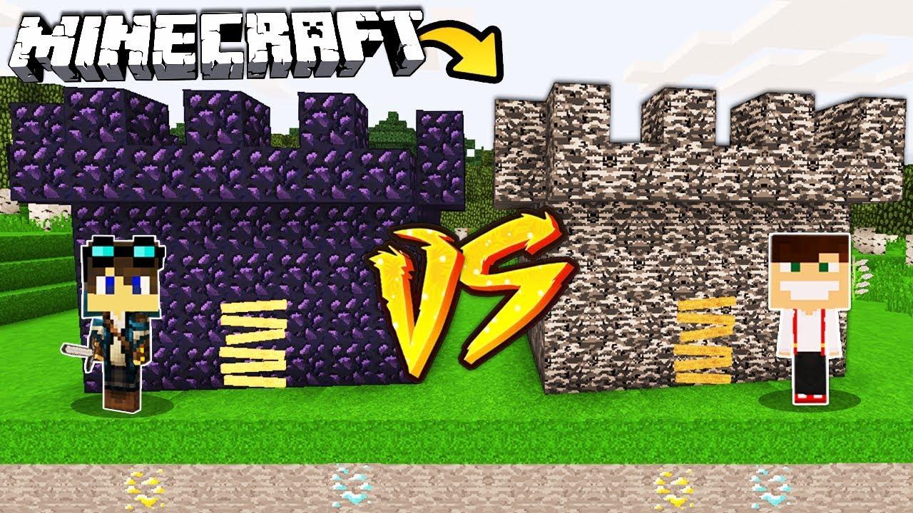 Zamek Z Obsydianu Vs Zamek Z Bedrocku W Minecraft Youtube