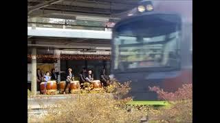 吾妻線、中之条駅で六合八間太鼓、湯と花の町中之条町で 群馬県.