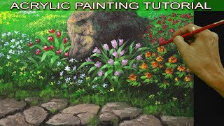 Acrylic Painting Tutorial on How to Paint Flower Garden with a Pathway and Big Rock Easy and Basic
