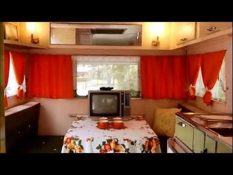 Carapark Voyager 15' vintage retro caravan 1964 orange/white curtains