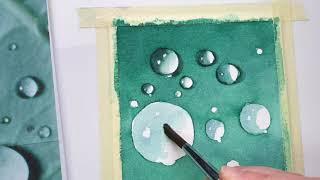 아쿠아 물방울 그리기-수채화 일러스트