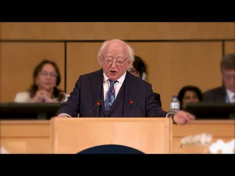 President Higgins delivers keynote address at ILO World of Work Summit, Geneva
