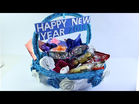 DIY New Year Greetings Basket 2018   Gift idea for New Year Celebration 2018