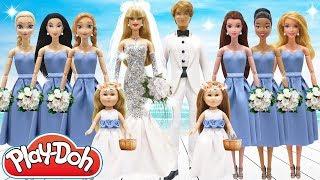 Play Doh Wedding Dress Barbie KEN Disney Princess Elsa Anna Belle Tiana Mulan Aurora My Life As Doll