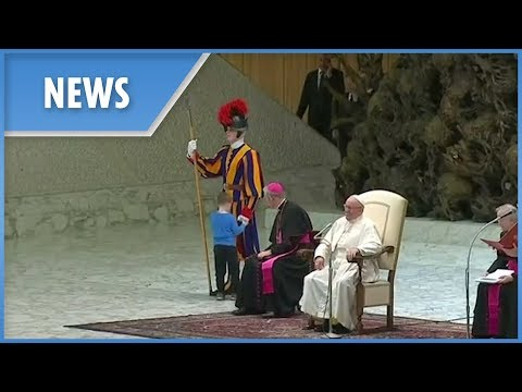 The Pope gets interrupted by a young boy... but doesn't mind one bit!