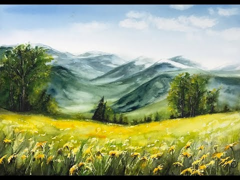 Watercolor Mountain Flowers Painting Tutorial