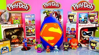 Giant Playdough Superman Surprise Egg Marvel VS DC Blind Box Opening Play-Doh Disney Cars Toy Club