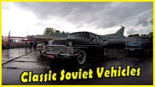 Vintage Cars Show 2018. Old Classic Soviet Vehicles GAZ 13 Chayka, GAZ 24 Volga.
