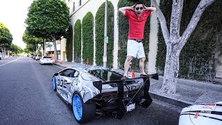 SCREAMING LUNATIC JUMPS IN FRONT OF MY LAMBORGHINI ON RODEO DRIVE!