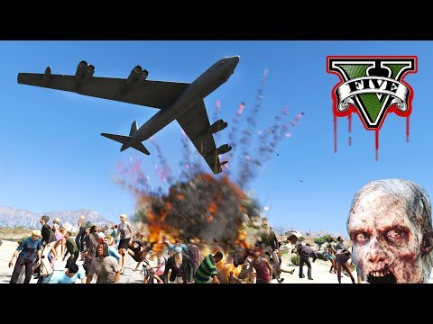 ENDING THE ZOMBIE APOCALYPSE!!! B52 BOMBER LIGHTS UP ZOMBIES! - GTA V Zombies Mod