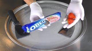 ASMR - OREO Strawberry Ice Cream Rolls | how to make satisfying fried Ice Cream - food mukbang 먹방 4k
