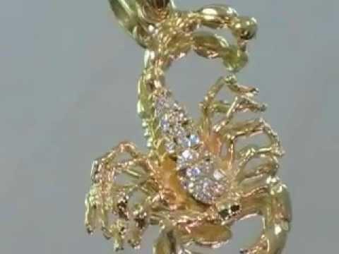 18k gold scorpion pendant 18k scorpion charm piece youtube 18k gold scorpion pendant 18k scorpion charm piece mozeypictures Images